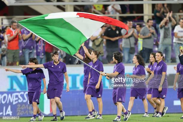 Fiorentina women celebrates the 20162017 soccer championship victory during the Serie A match between ACF Fiorentina and Pescara Calcio at Stadio...