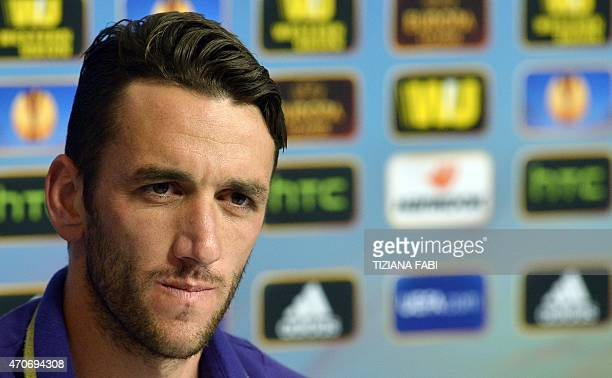 Fiorentina's Argentine defender Gonzalo Rodriguez ponders during a press conference at the Artemio Franchi stadium in Florence on April 22 2015 on...