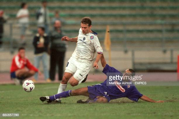 Fiorentina's Carmine Esposito tackles Hadjuk Split's Dean Racunica