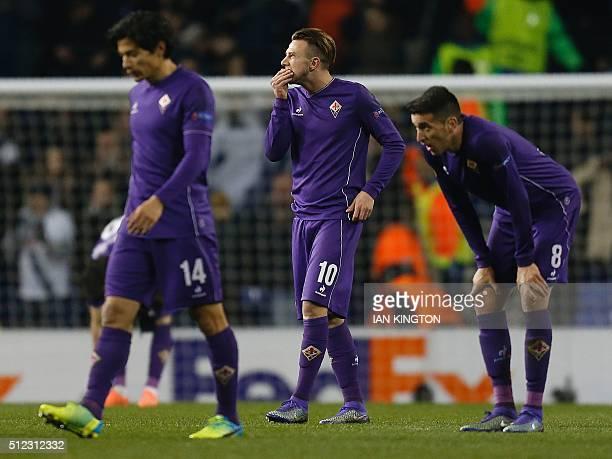 Fiorentina's Chilean midfielder Matias Ariel Fernandez Fiorentina's Italian forward Federico Bernardeschi and Fiorentina's Uruguayan forward Matias...