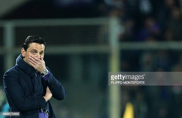 Fiorentina's coach Vincenzo Montella reacts during the Italian Tim Cup semifinal return football match Fiorentina vs Juventus at the Artemio Franchi...