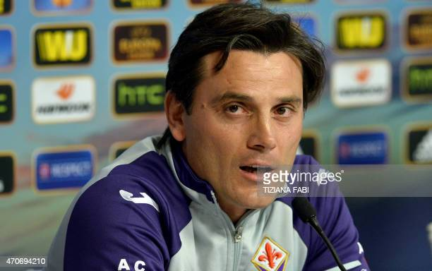 Fiorentina's coach Vincenzo Montella speaks during a press conference at the Artemio Franchi stadium in Florence on April 22 2015 on the eve of the...