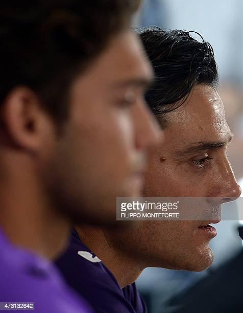 Fiorentina's defender from Spain Marcos Alonso Mendoza and Fiorentina's coach Vincenzo Montella attend a press conference on the eve of their UEFA...