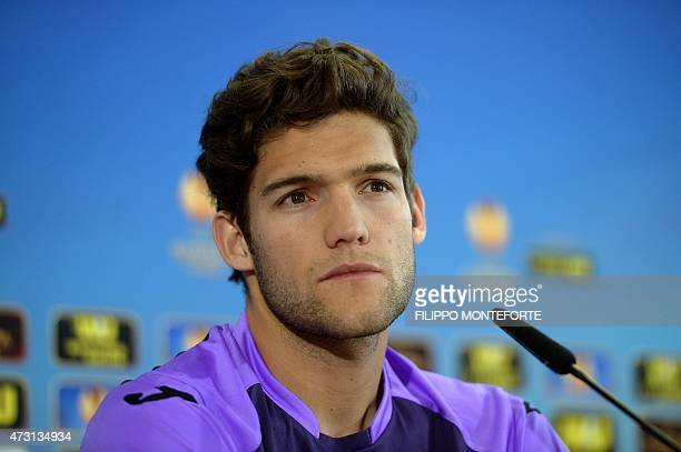 Fiorentina's defender from Spain Marcos Alonso Mendoza attends a press conference on the eve of their UEFA Europa League semi final second leg...