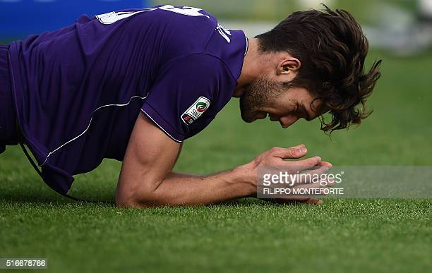 Fiorentina's defender from Spain Marcos Alonso Mendoza reacts during the Italian Serie A football match Frosinone vs Fiorentina at the Matusa Stadium...