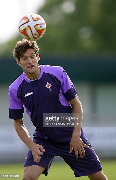 Fiorentina's defender from Spain Marcos Alonso Mendoza takes part in a training session on the eve of the UEFA Europa League semi final second leg...