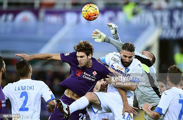 Fiorentina's defender from Spain Marcos Alonso Mendoza vies with Empoli's defender from Italy Lorenzo Tonelli during the Italian Serie A football...