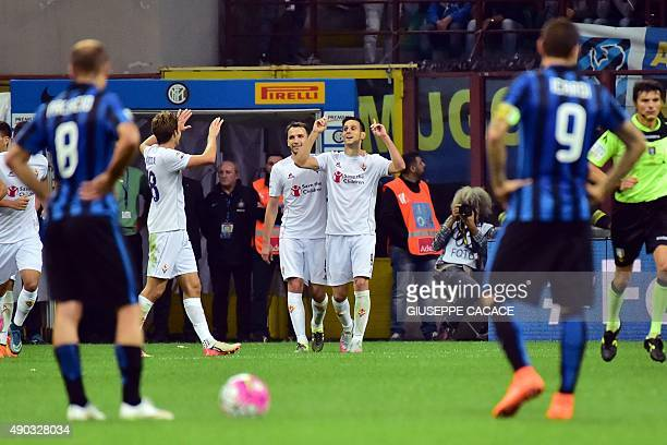 Fiorentina's forward from Croatia Nicola Kalinic celebrates after scoring a goal during the Serie A football match between Inter Milan and Fiorentina...