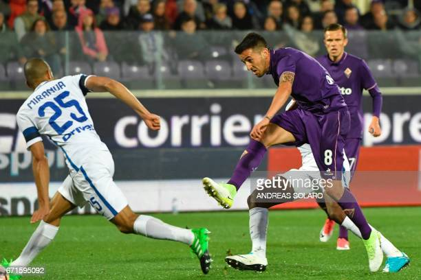 Fiorentina's forward from Croatia Nikola Kalinic shoots and scores during the Italian Serie A football match Fiorentina vs Inter Milan on April 22...