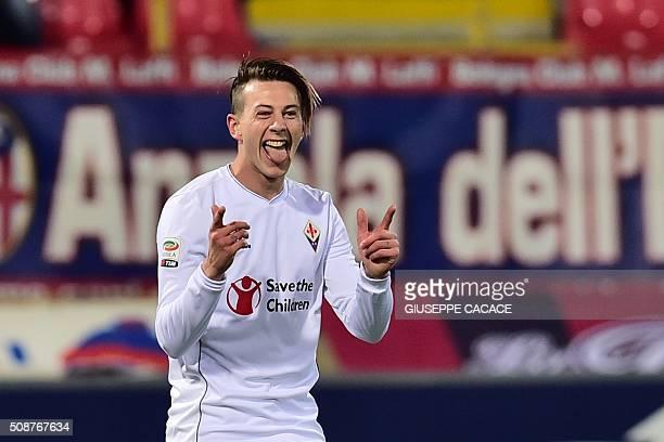 Fiorentina's forward from Italy Federico Bernardeschi celebrates after scoring during the Italian Serie A football match Bologna vs Fiorentina at...