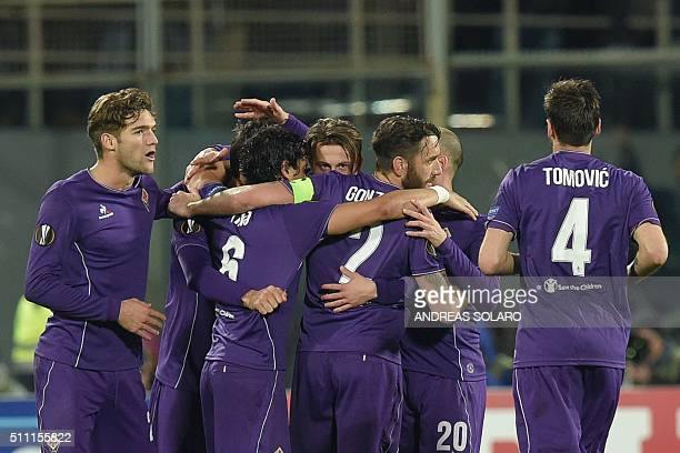 Fiorentina's forward from Italy Federico Bernardeschi celebrates with teammates after scoring during the UEFA Europa League football match Fiorentina...