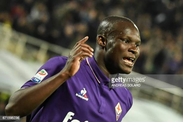 Fiorentina's forward from Senegal Khouma Babacar celebrates after scoring during the Italian Serie A football match Fiorentina vs Inter Milan on...