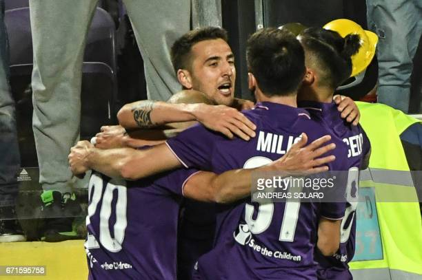 Fiorentina's forward from Uruguay Matias Vecino celebrates with his teammates after scoring during the Italian Serie A football match Fiorentina vs...