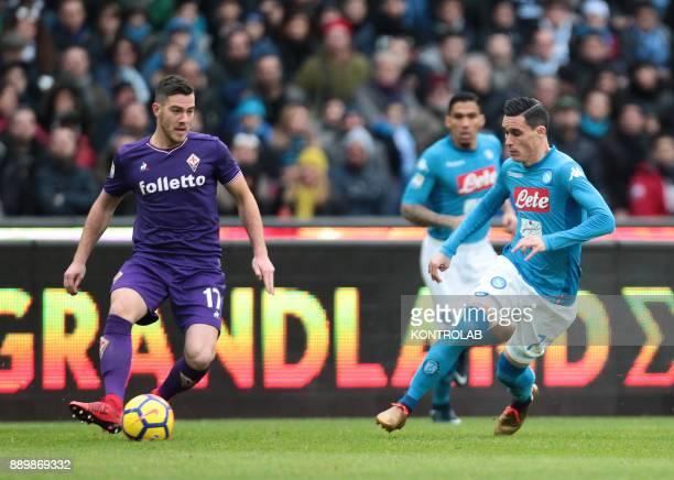 STADIUM NAPLES CAMPANIA ITALY Fiorentina's French midfielder Jordan Veretout controls the ball next to Napoli's Spanish striker Jose Maria Callejon...