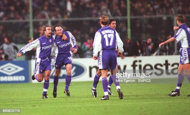 Fiorentina's Gabriel Batistuta congratulates Abel Balbo on scoring the second goal