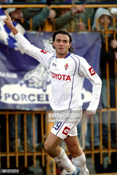 Fiorentina's Gianpaolo Pazzini celebrates scoring the opening goal