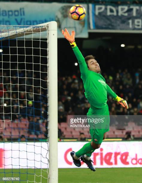 Fiorentina's goalkeeper from Romania Ciprian Tatarusanu makes a save during the Italian Tim Cup roud of 8 football match SSC Napoli vs Fiorentina ACF...