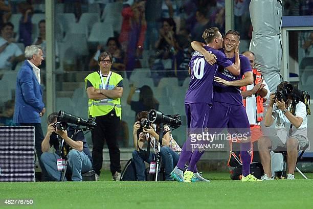 Fiorentina's Italian midfielder Federico Bernardeschi celebrates after scoring a goal during the International Champions Cup football match between...