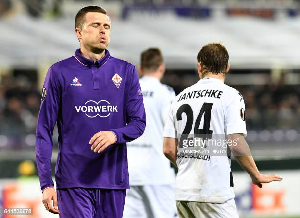 Fiorentina's midfielder Josip Ilicic reacts after failing to score during the UEFA Europa League round of 32 secondleg football match between...