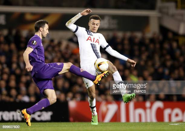 Fiorentina's Milan Badelj and Tottenham Hotspur's Dele Alli battle for the ball