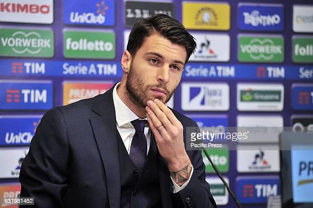 Fiorentina's new goalkeeper Marco Sportiello during the press conference for his presentation at Artemio Franchi Stadium