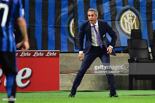Fiorentina's Portuguese coach Paulo Sousa reacts during the Serie A football match between Inter Milan and Fiorentina at the San Siro Stadium in...