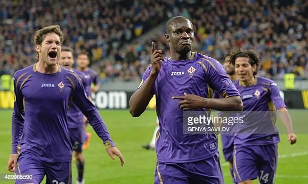 Fiorentina's Senegalese forward Khouma Babacar celebrates after scoring during the UEFA Europa League quarterfinal first leg football match Dynamo...
