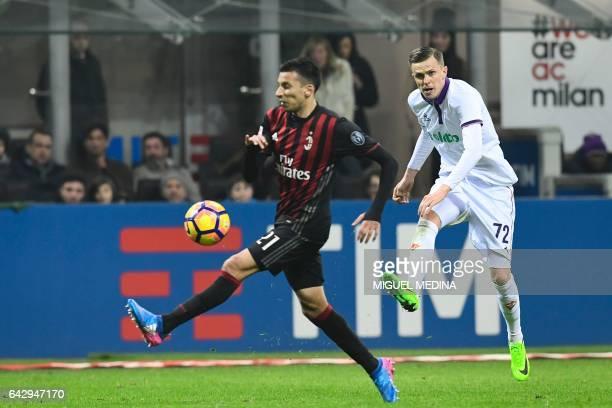 Fiorentina's Slovenian forward Josip Ilicic kicks the ball during the Italian Serie A football match between AC Milan and Fiorentina at the San Siro...