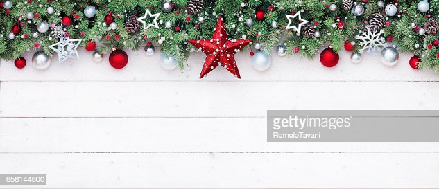 Fir Branches And Decoration On White Plank - Christmas Border : Stock Photo