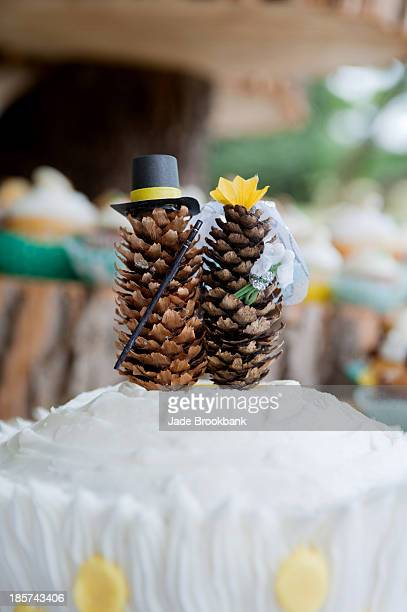 Fir cone models on top of wedding cake