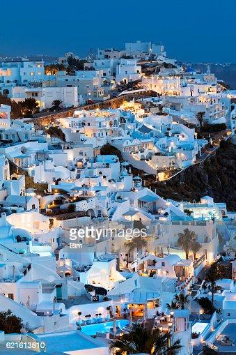 Fira Town at Dusk, Santorini, Cyclades Islands, Greece