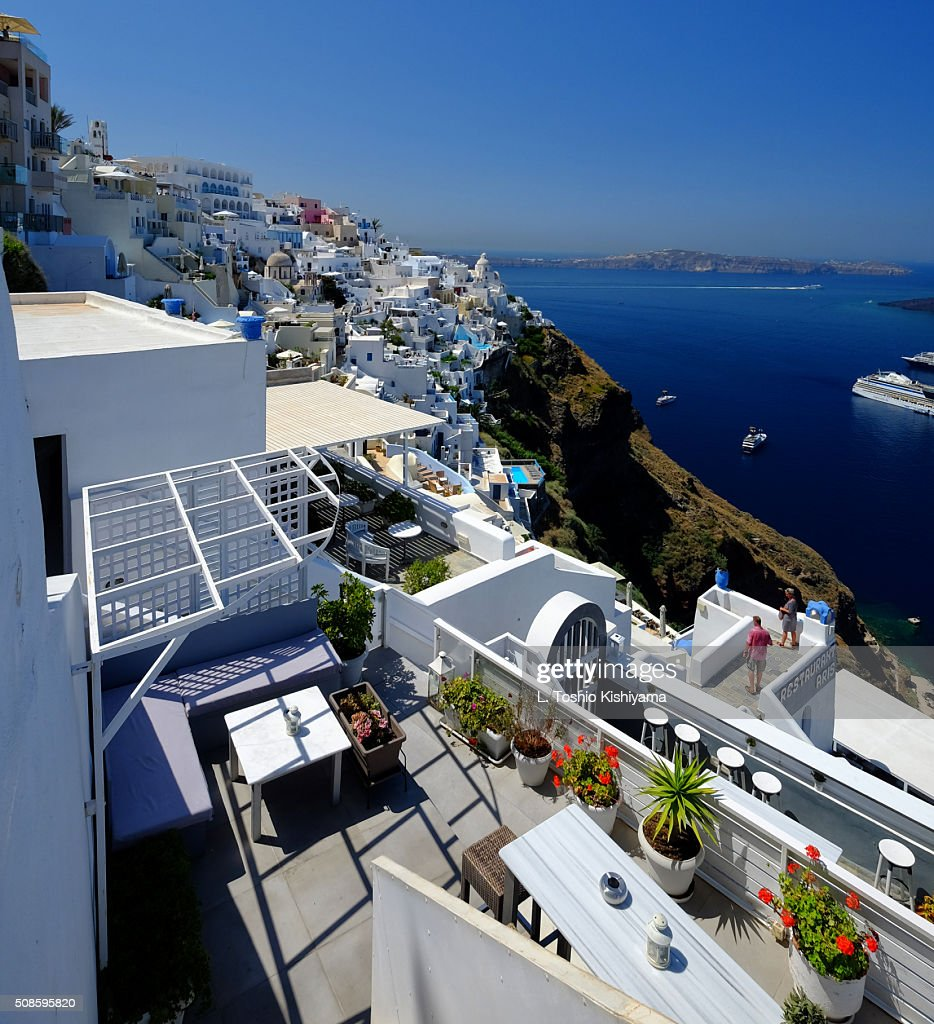 Fira Village on Santorini Island in Greece : Stock Photo