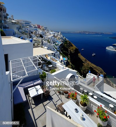 Fira Village on Santorini Island in Greece : Foto de stock