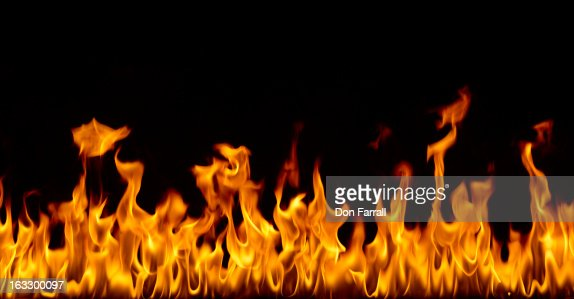 Fire against a black background
