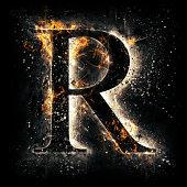 Fire alphabet. Letter R.