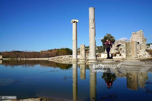 Fire & ruins at ancient city, Patara
