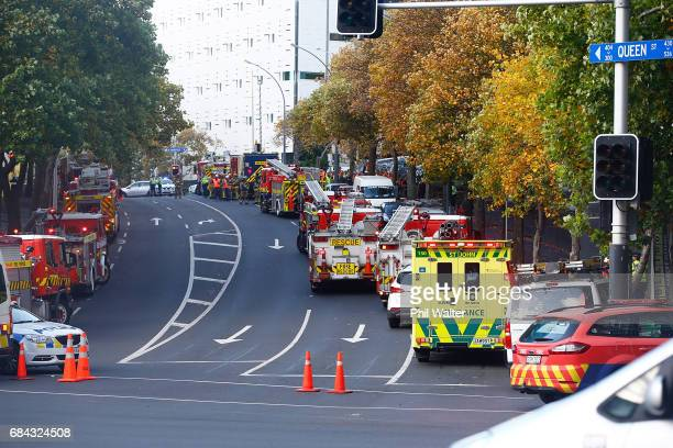 Fire and emergency services respond to a fire in a highrise office building in Auckland's CBD on May 18 2017 in Auckland New Zealand About a dozen...