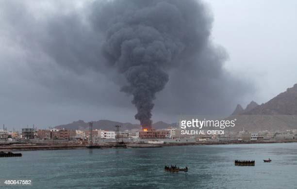 Fire and smoke rises from the Aden oil refinery following a reported shelling attack by Shiite Huthi rebels in the embattled southern Yemeni city of...