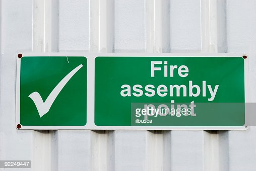 Fire assembly point green sign