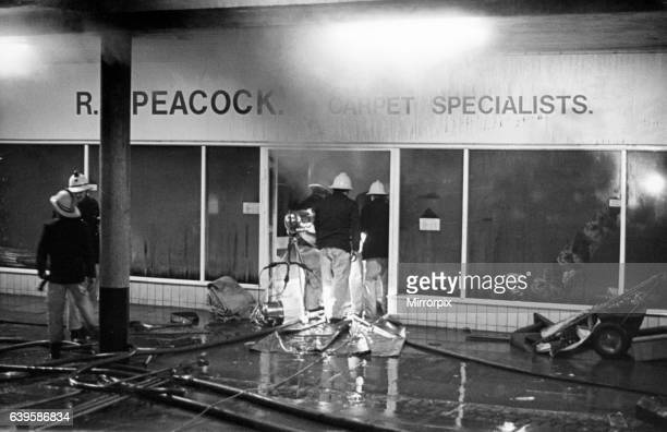 Fire at Peacocks carpet shop Brus House Thornaby 20th October 1980