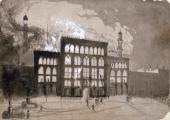 Fire at the Alhambra Theatre Leicester Square London 1882 The theatre was destroyed in the blaze but was rebuilt opening again in 1884