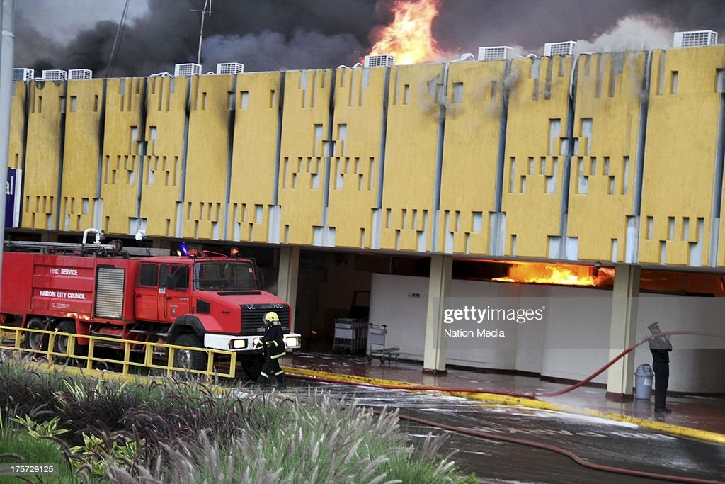 (Not for sale to The Star (Kenya), Capital FM, The People, Citizen TV, Kenya Broadcasting Corporation) A fire at the Jomo Kenyatta International Airport (JKIA) International Arrivals section on August 06, 2013 in Nairobi, Kenya.