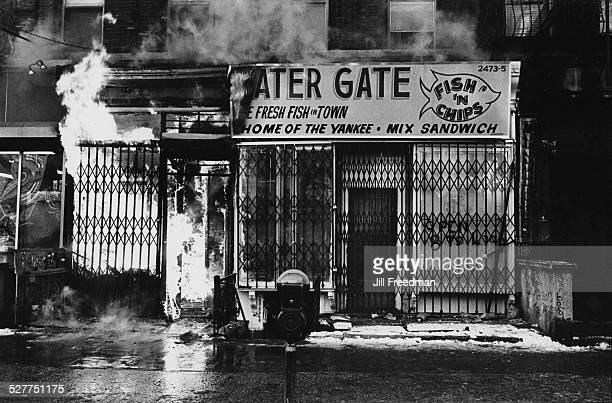 A fire at the Water Gate Fish 'n' Chip shop USA circa 1980