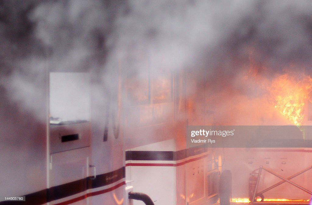 A fire breaks out at the back of the Williams team garage after they celebrated winning the Spanish Formula One Grand Prix at the Circuit de Catalunya on May 13, 2012 in Barcelona, Spain.