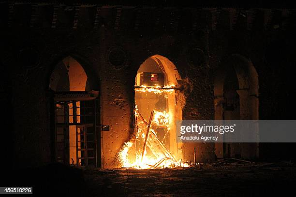 Fire breaks out at the historical Umayyad Mosque as a result of a reportedly missile attack by the Syrian regime forces during the clashes between...