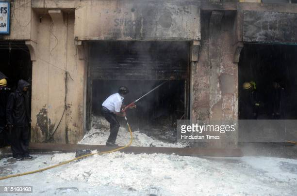 Fire breaks out in chemical godown at Sector19 Vashi in Navi Mumbai on July 15 2017 in Mumbai India Several fire tenders rushed to the spot to douse...