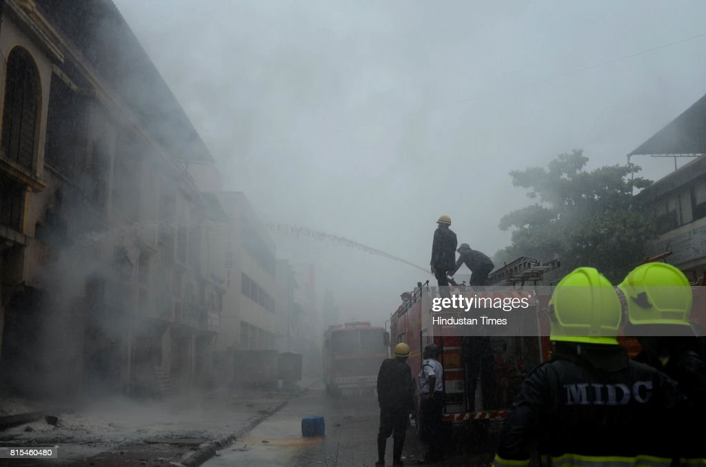 Fire breaks out in chemical godown at Sector-19, Vashi in Navi Mumbai, on July 15, 2017 in Mumbai, India. Several fire tenders rushed to the spot to douse the flame. No causality has been reported so far.