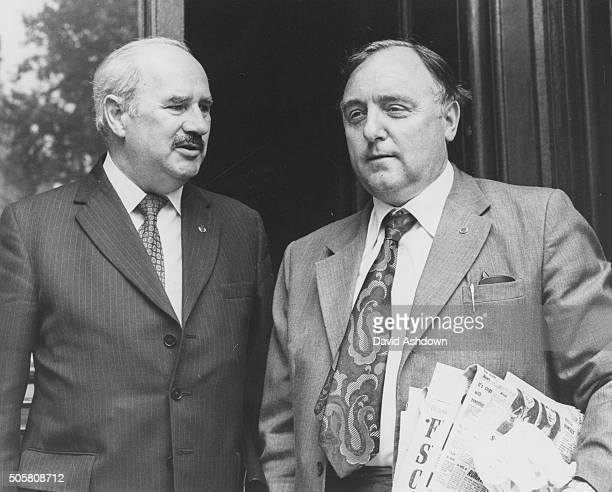 Fire Brigade Union leaders Terry Parry and Enoch Humphries arriving at the Home Office to meet Sir Arthur Peterson about possible industrial action...
