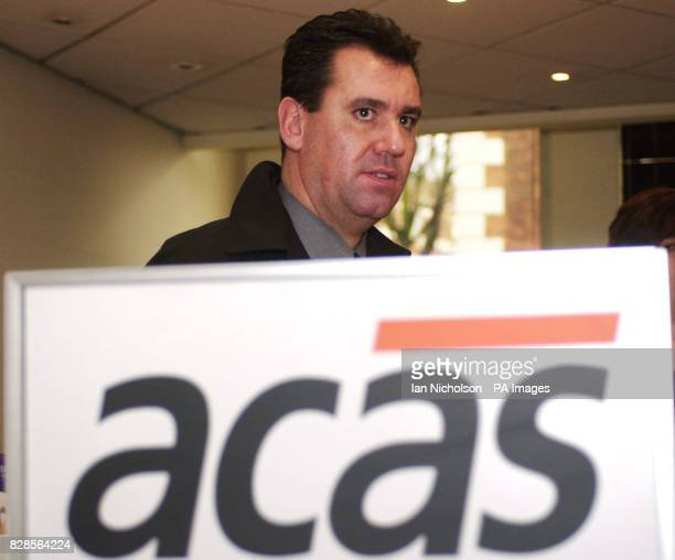 Fire Brigades Union General Secretary Andy Gilchrist arrives at the London offices of the cociliation servcice ACAS for exploratory talks to find a...
