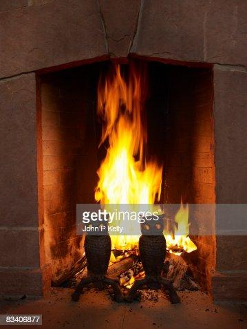Fire burning in fireplace. : Foto de stock